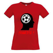 Moteriški marškinėliai su Jūsų nuotrauka, užrašu, raudoni