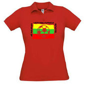 Women's polo shirt with your photos, notes, red
