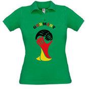 Moteriški polo marškinėliai su Jūsų nuotrauka, užrašu, žali