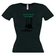 Moteriški marškinėliai V formos apykakle su Jūsų nuotrauka, užrašu, juodi