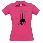 Moteriški polo marškinėliai su Jūsų nuotrauka, užrašu, rožiniai