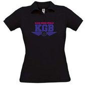 Moteriški polo marškinėliai su Jūsų nuotrauka, užrašu, juodi