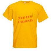 Vyriški marškinėliai su Jūsų nuotrauka, užrašu, geltoni