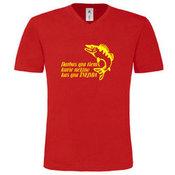 Vyriški marškinėliai V formos apykakle su Jūsų nuotrauka, užrašu, raudoni