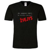 Vyriški marškinėliai V formos apykakle su Jūsų nuotrauka, užrašu, juodi