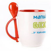 A cup with a spoon. Red (250 ml)