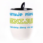 A cup with a spoon. Blue (250 ml)