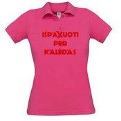 Поло Женская футболка с вашей фотографии, заметки, розовый