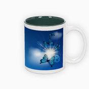 Two colors mug. Green interior (300 ml)