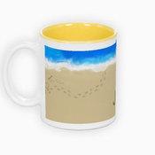 Dviejų spalvų puodelis. Geltonas vidus (300 ml)