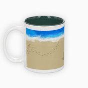 Dviejų spalvų puodelis. Žalias vidus (300 ml)