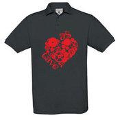 Men's polo shirt with your photos, notes, gray