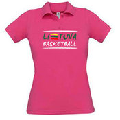 Women's polo shirt with your photos, notes, pink