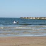 maudynės šaltoje jūroje
